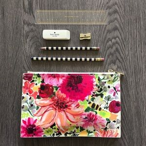 ♠️ Kate Spade Floral Pencil Case w Pencils & Ruler